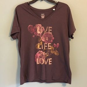 Live the Life You Love XL TShirt Vneck Floral